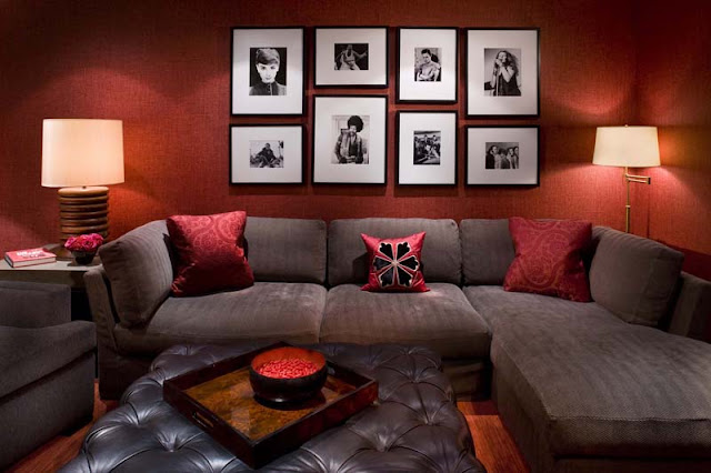 Red living room design photo