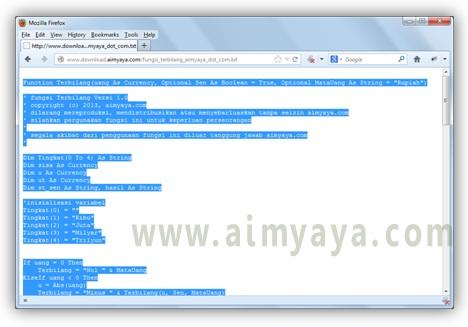 Gambar: kode program VBA fungsi terbilang