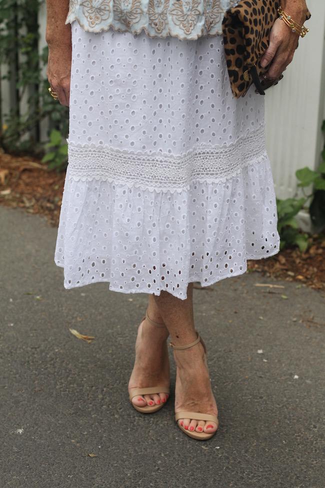 white lace skirt, steve madden heels, julie vos bracelet