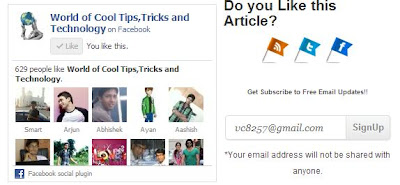 Add Facebook Like Box Widget With Social Sharing below each Post