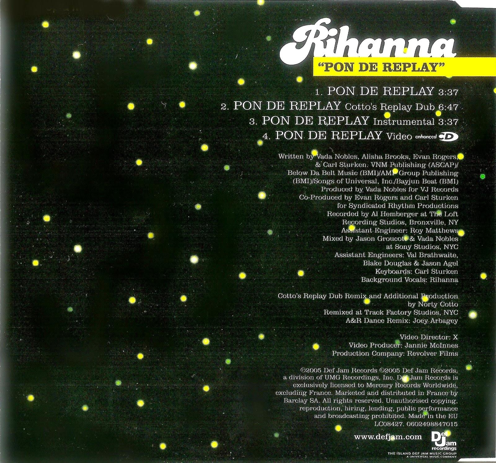 Encartes pop single rihanna pon de replay tags booklet rihanna single ccuart Images