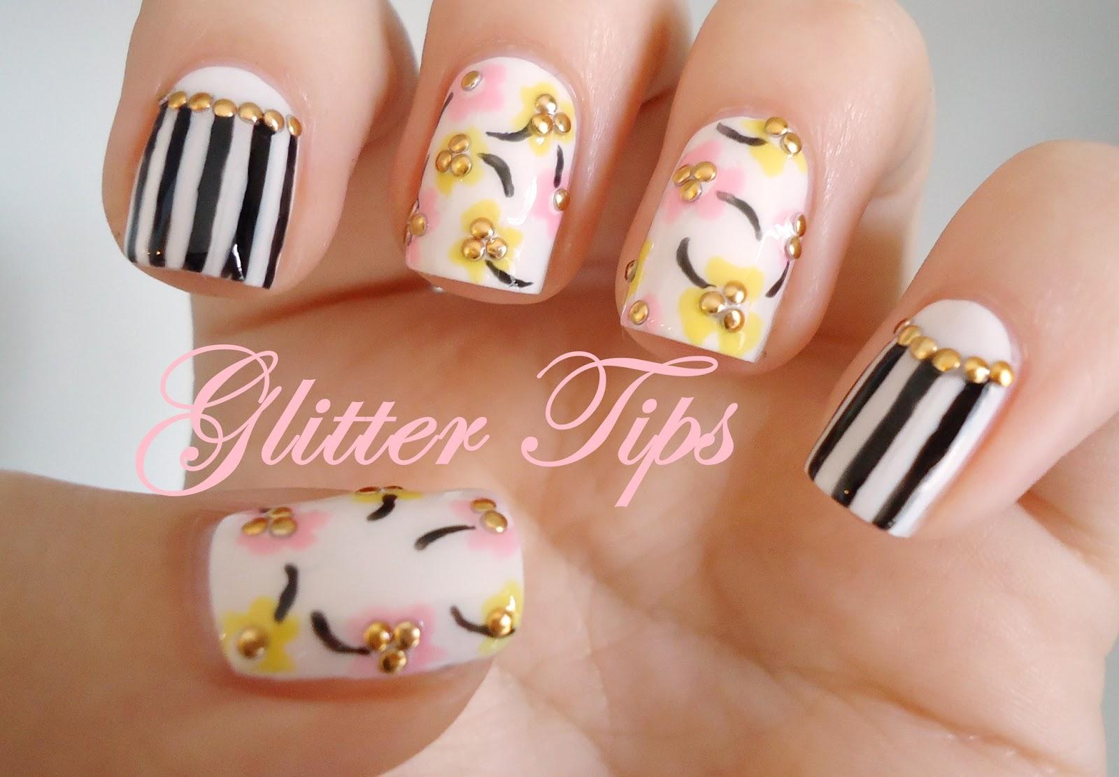 Glitter Tips: Studded Spring Floral - Nail Art