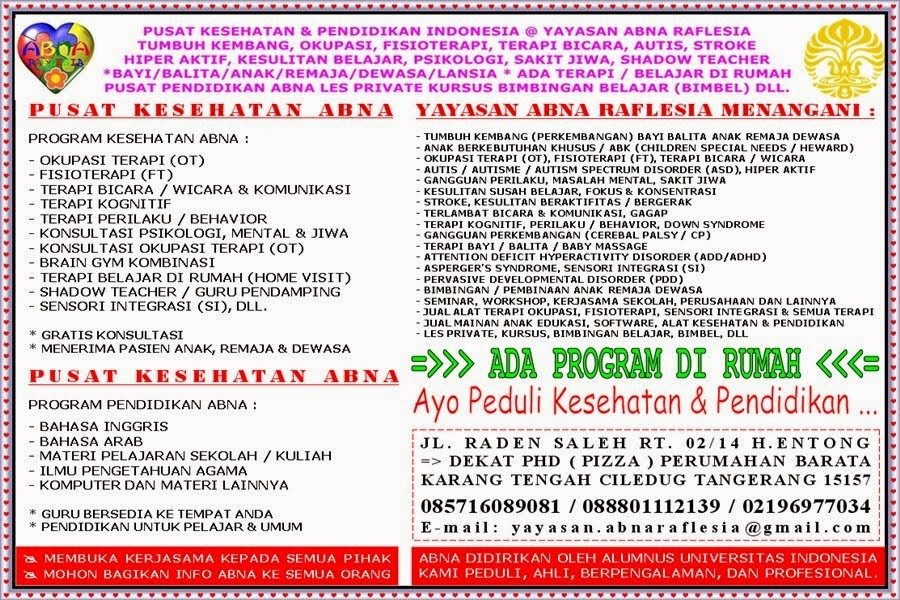 KLINIK ABNA CILEDUG TANGERANG @ PUSAT KESEHATAN PENDIDIKAN INDONESIA @ YAYASAN ABNA RAFLESIA
