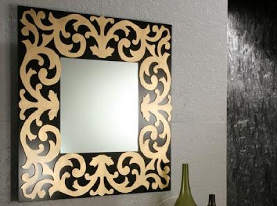 dekoratif+siyah+alt%C4%B1n+yald%C4%B1z+s%C3%BCslemeli+kare+%C5%9F%C4%B1k+ayna Dekoratif Duvar Ayna Modelleri