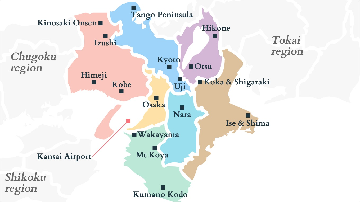 map of kansai and all of the places it includes