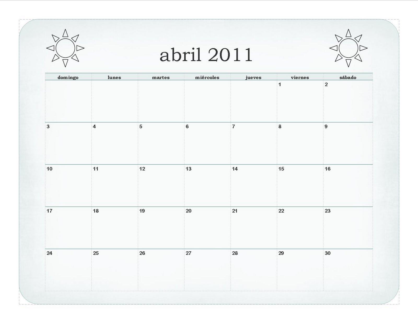 April Calendar In Spanish : Spanish for little learners calendar april