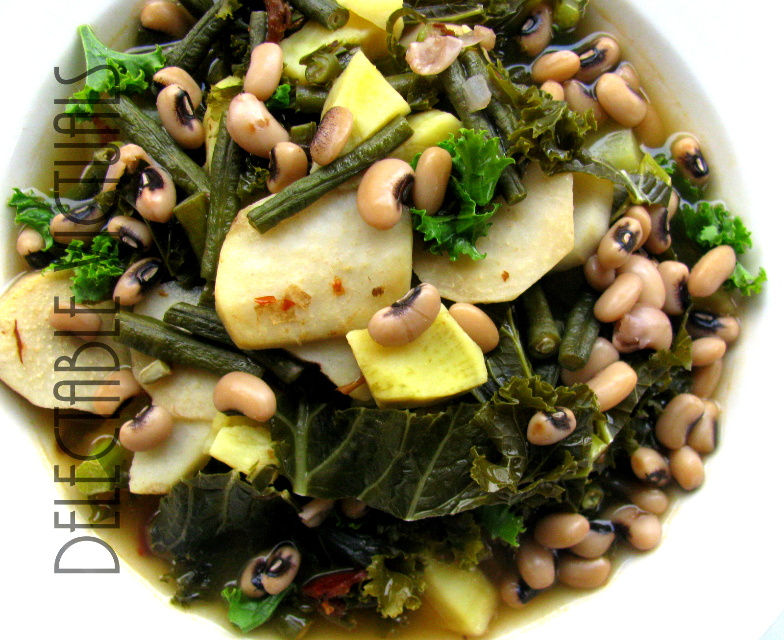 Delectable Victuals Chipotle Sweet Potato Taro Root Kale Chayote Navy Squash Long Green Beans Soup