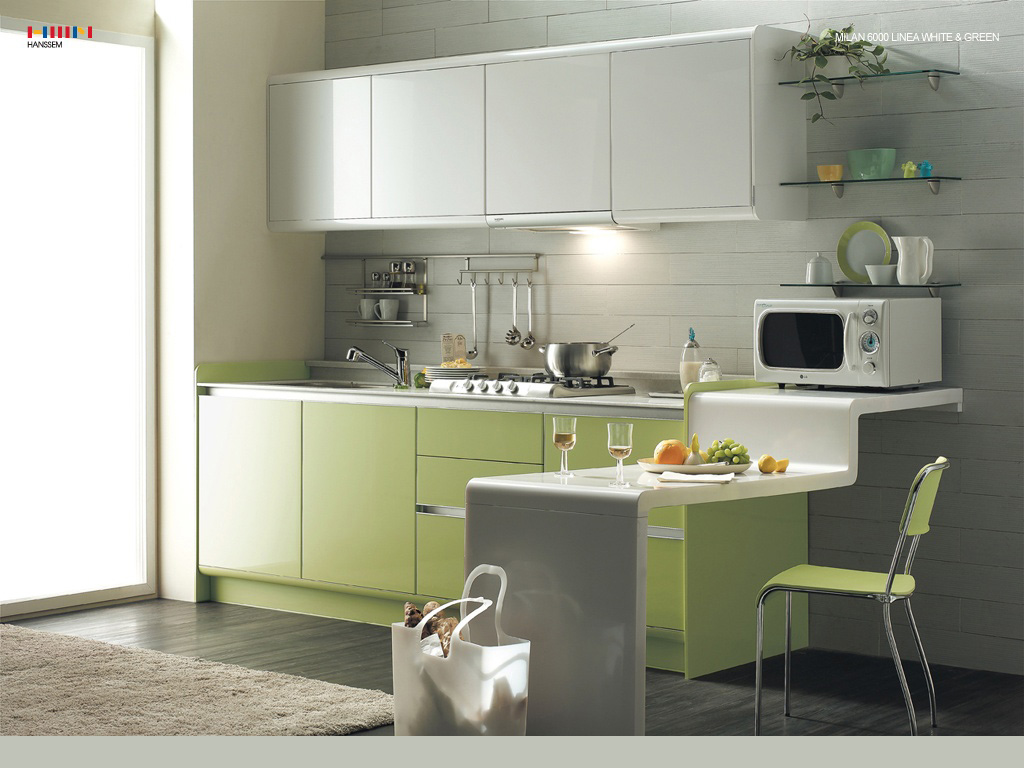 Green interior designs for modern and classical home Modern green kitchen ideas