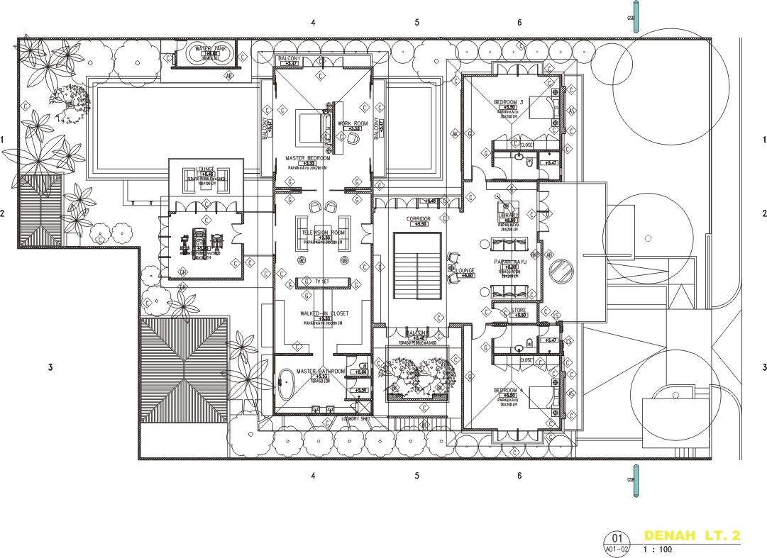 desain rumah mewah 2 lantai dengan kolam renang fourlook