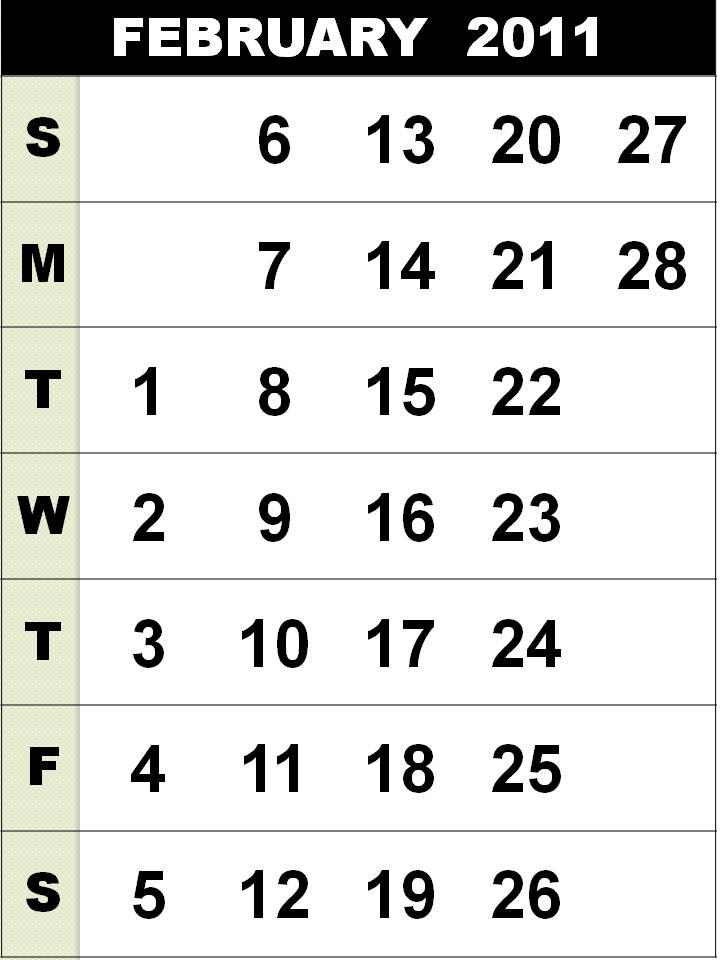 2011 calendar february. calendar february 2011
