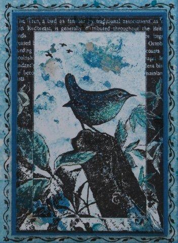 Stempel yvon birds - Kleuren die zich vermengen met de blauwe ...