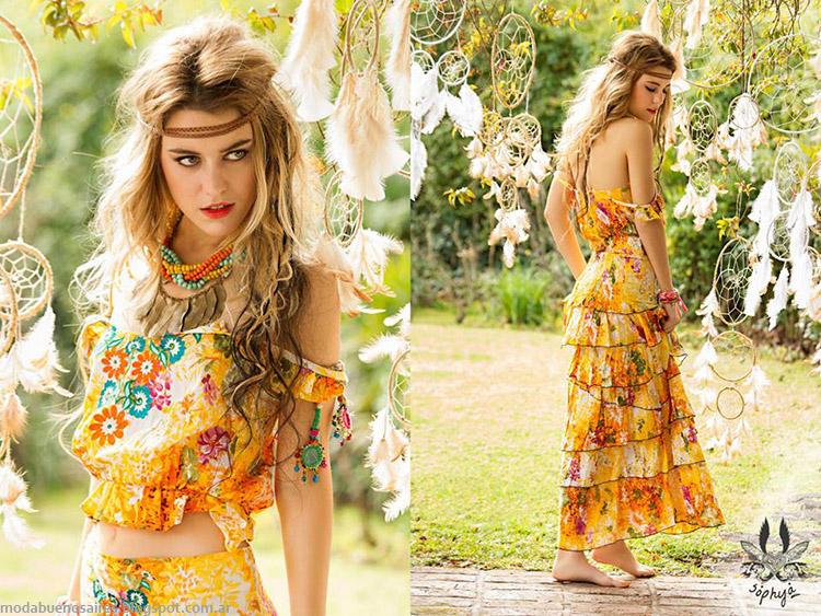 Sophya colección primavera verano 2015. Tops y faldas de moda 2015. Vestidos largos de verano 2015 Sophya.