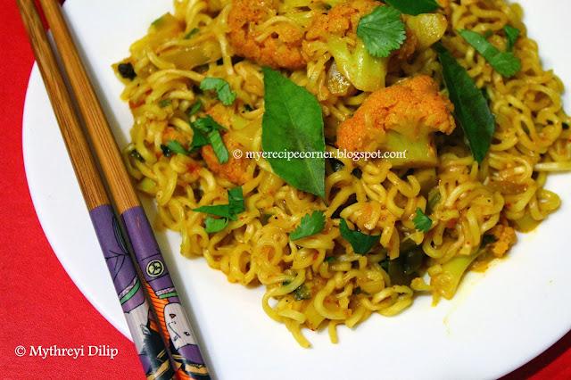 gobi masala maggi noodles recipe / cauliflower maggi masala noodles
