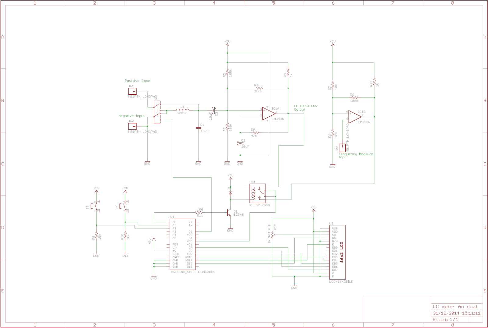 The Answer Is 42 Arduino Lc Meter Shield Coil Inductance Circuit Diagram I Hope This Helps People Make Their Own Versions Of Here A Link To Lm311 Eagle Files