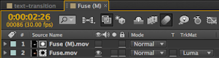 The Fuse After Effects comp set up with a transparent background.