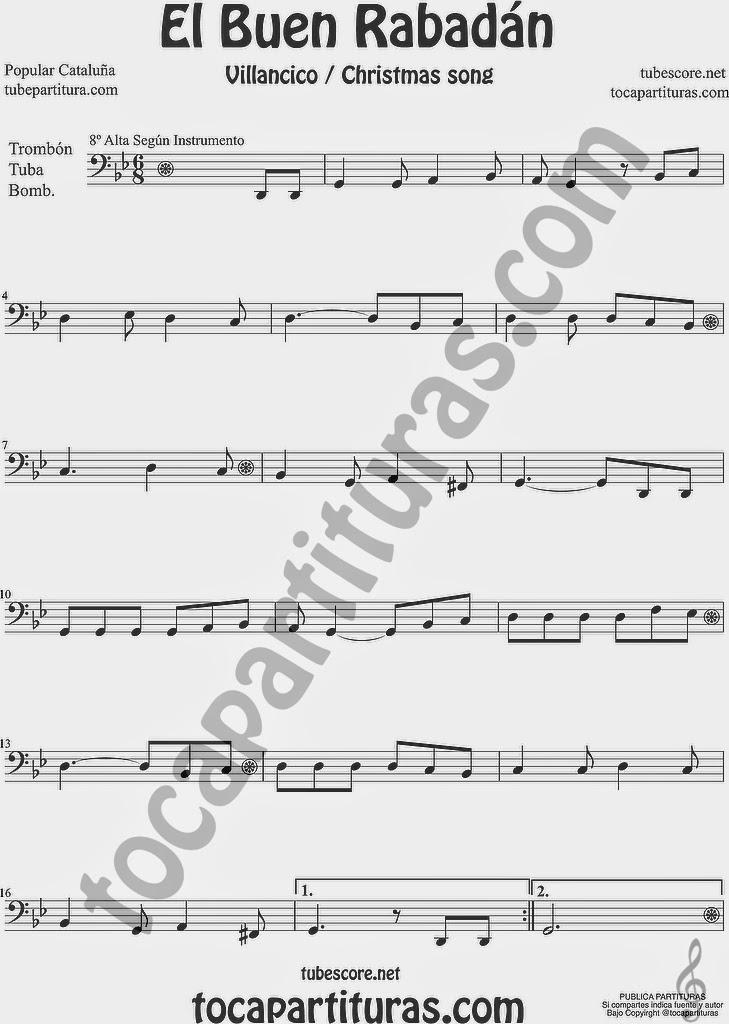 El Buen Rabadán Partitura de Trombón, Tuba Elicón y Bombardino Sheet Music for Trombone, Tube, Euphonium Music Scores Villancico Christmas Carol
