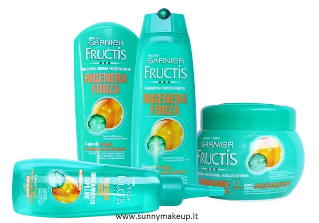 Garnier Fructis - Rigenera Forza. Balsamo, shampoo, maschera e Lozione rigenerante.