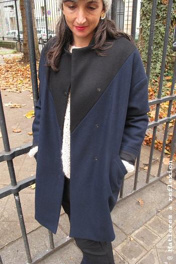 Manteau laine bicolore Matières à réflexion