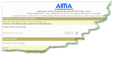 AIMA MAST February 2012 Online Form