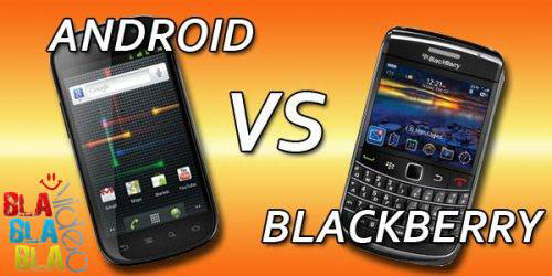 Gambar HP Android vs Blackberry