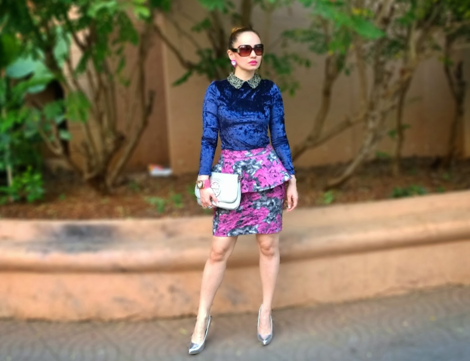 Blue Velvet Full Sleeve Top & Floral Peplum Skirt