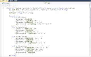 Kode Konversi Derajat Temperatur VB 2010