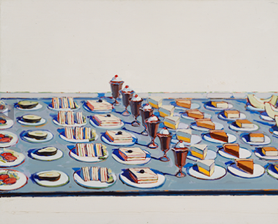 Wayne Thiebaud. Salad, Sandwiches and Dessert, 1960.
