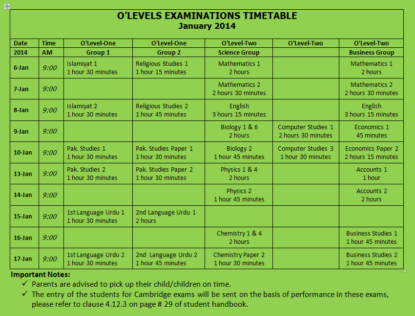 OLevel Exam Timetable for January 2014 | Islamabad Convent School.