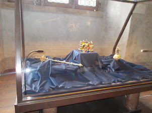 """Replica of """"Crown of St Wenceslas"""", The """"Orb"""" and the """"Spectre"""" in Prague Castle."""