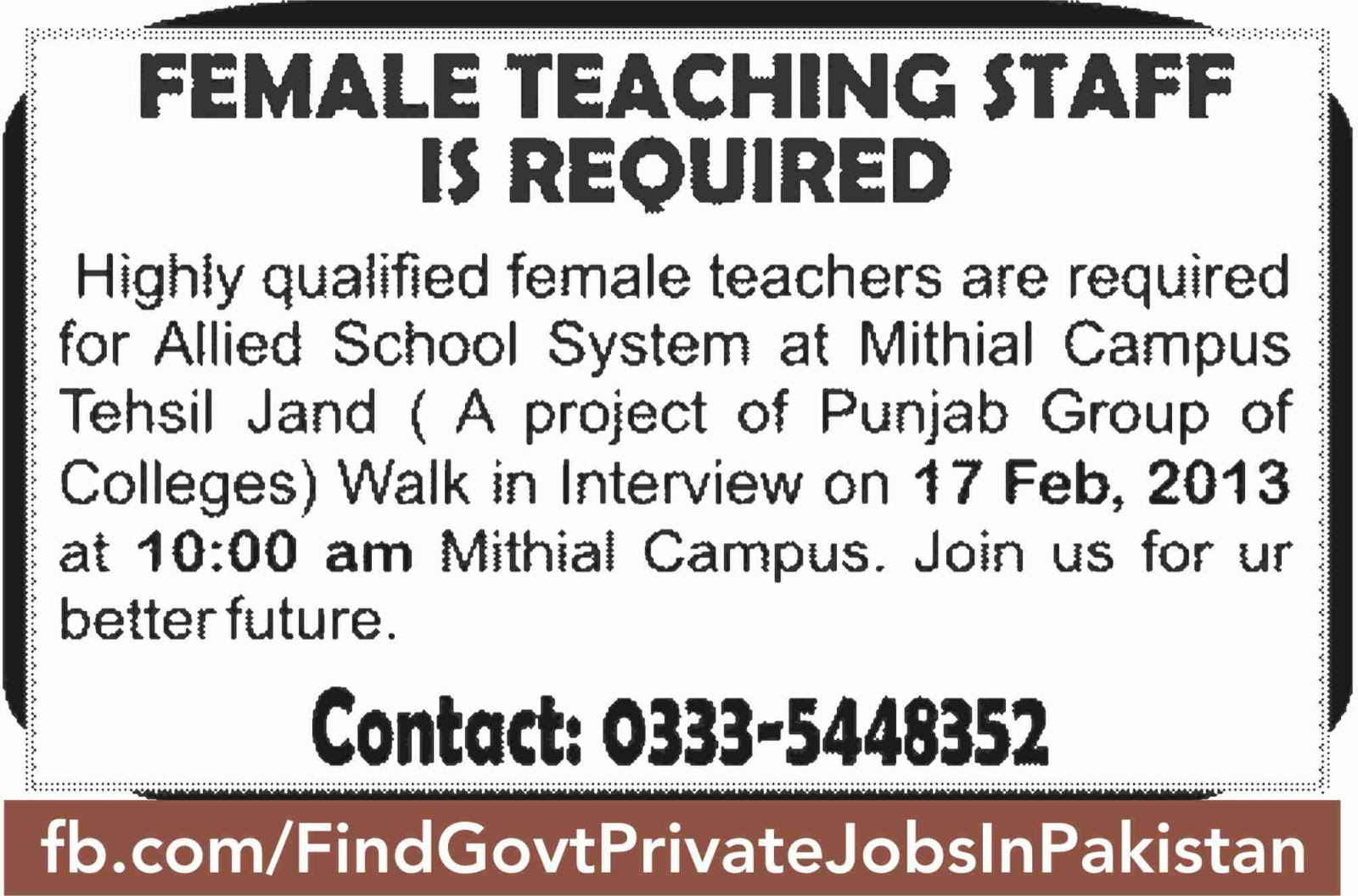 female teaching staff requried on sunday jang
