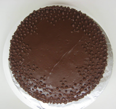 Chocolate Dots Cake - Overhead View