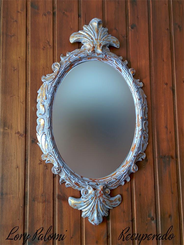 Lorypalomi espejo pared ovalado pseudo rococo decapado for Espejo ovalado dorado