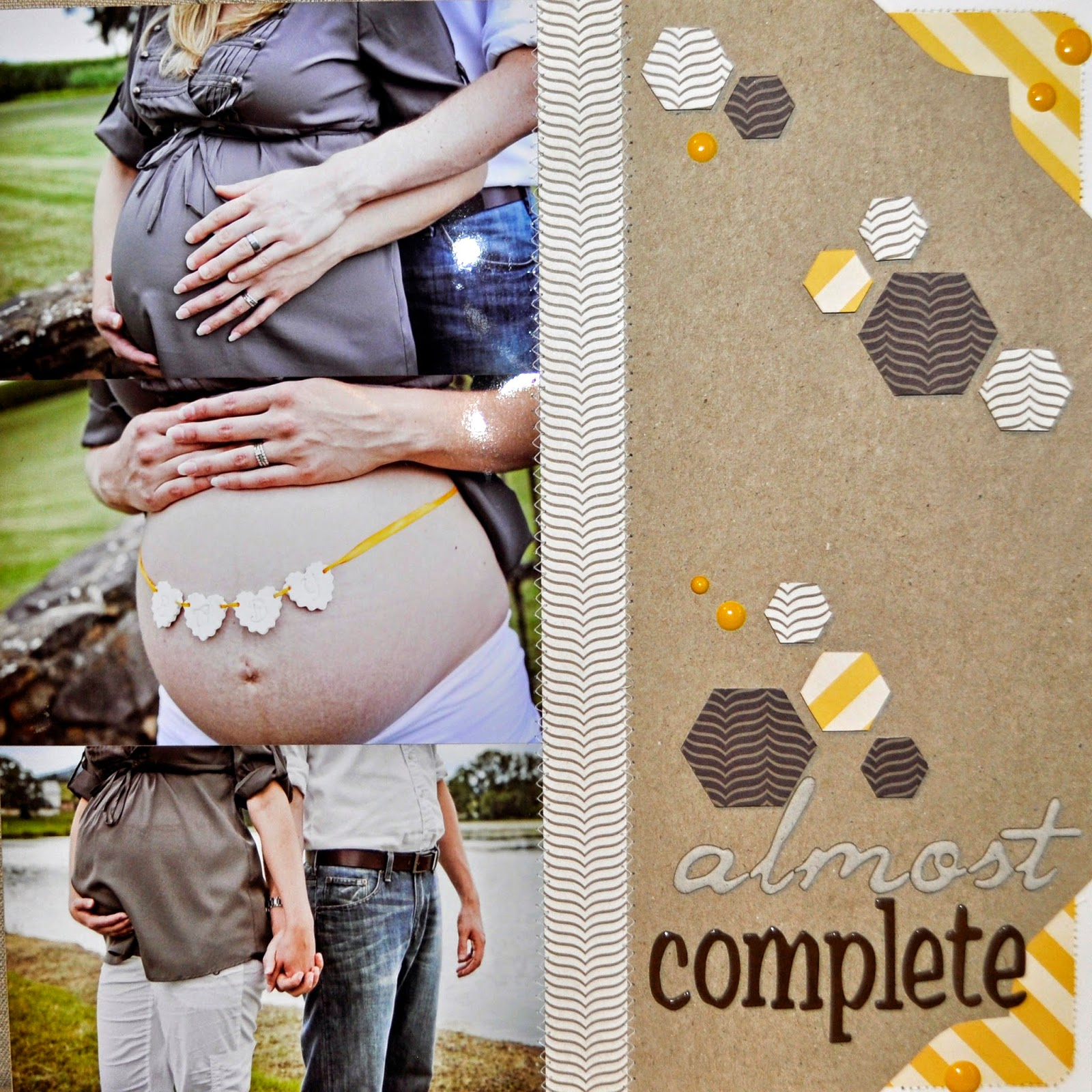 12x12 scrapbook page example inspiration unisex surprise baby pregnancy pregnant expecting boy girl due date banner bunting maternity nursery belly bump kraft machine stitching white dark brown chevron hexagon studio calico almost complete enamel dots