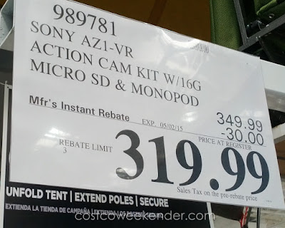 Deal for the Sony HDR-AZ1VR Action Cam Mini at Costco