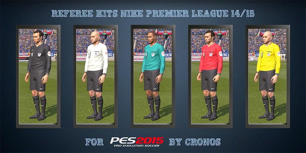 PES 2015 Referee Kits Nike Premier League 14/15 + Adidas UEFA Champions League 14/15 CPK