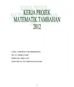 jawapan kerja projek matematik tambahan 2012 kedah. Semua jawapan