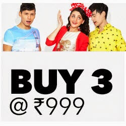 Buy Clothing, Footwear and Accessories Buy any 3 for Rs. 998 at Jabong: Buytoearn