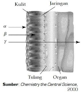 Kemampuan menembus relatif dari radiasi sinar alfa, beta, dan gamma