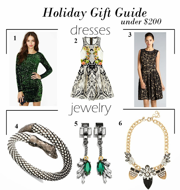 Holiday Gift Guide Under $200: Dresses & Jewelry