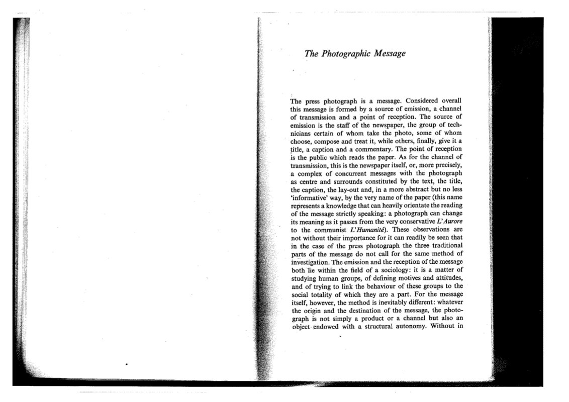 "roland barthes photographic message essay Roland barthes remains one of the most influential cultural theorists of the postwar period and image-music-text collects his most influential essays ""the photographic message"" argued for the impossibility of access to the real world through the analogic image of the photograph, asserting that connotative systems."