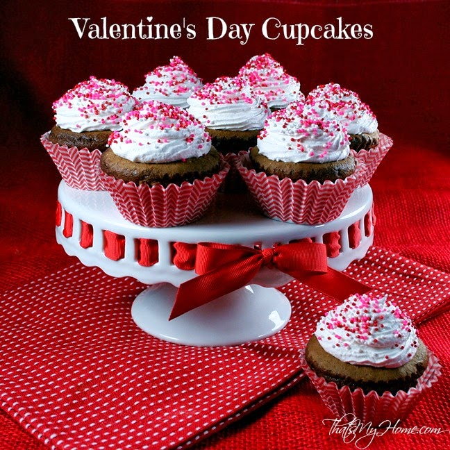 Chocolate Valentines Day Cupcakes with Fluffy Frosting
