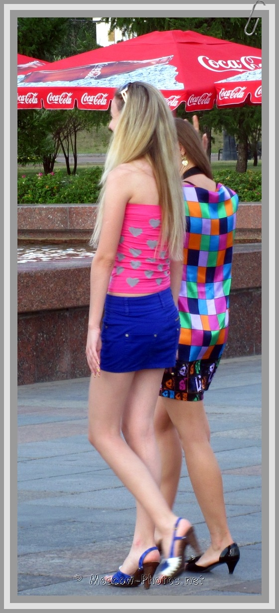 Moscow girl in blue mini skirt