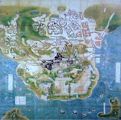 Mapa do sitio do castelo de Hara, pintura japonesa. Anônimo siglo XVII