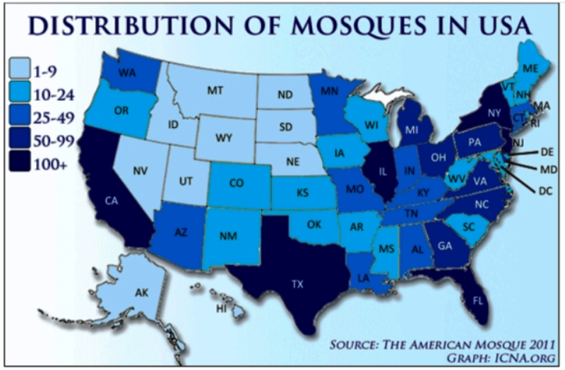 Distribution of mosques in USA -2011‏