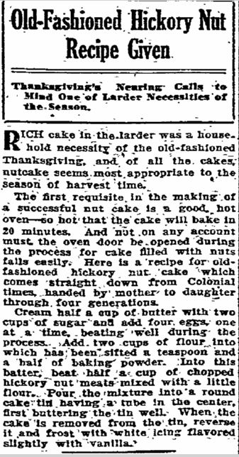 Old Fashioned Hickory Nut Cake Recipe