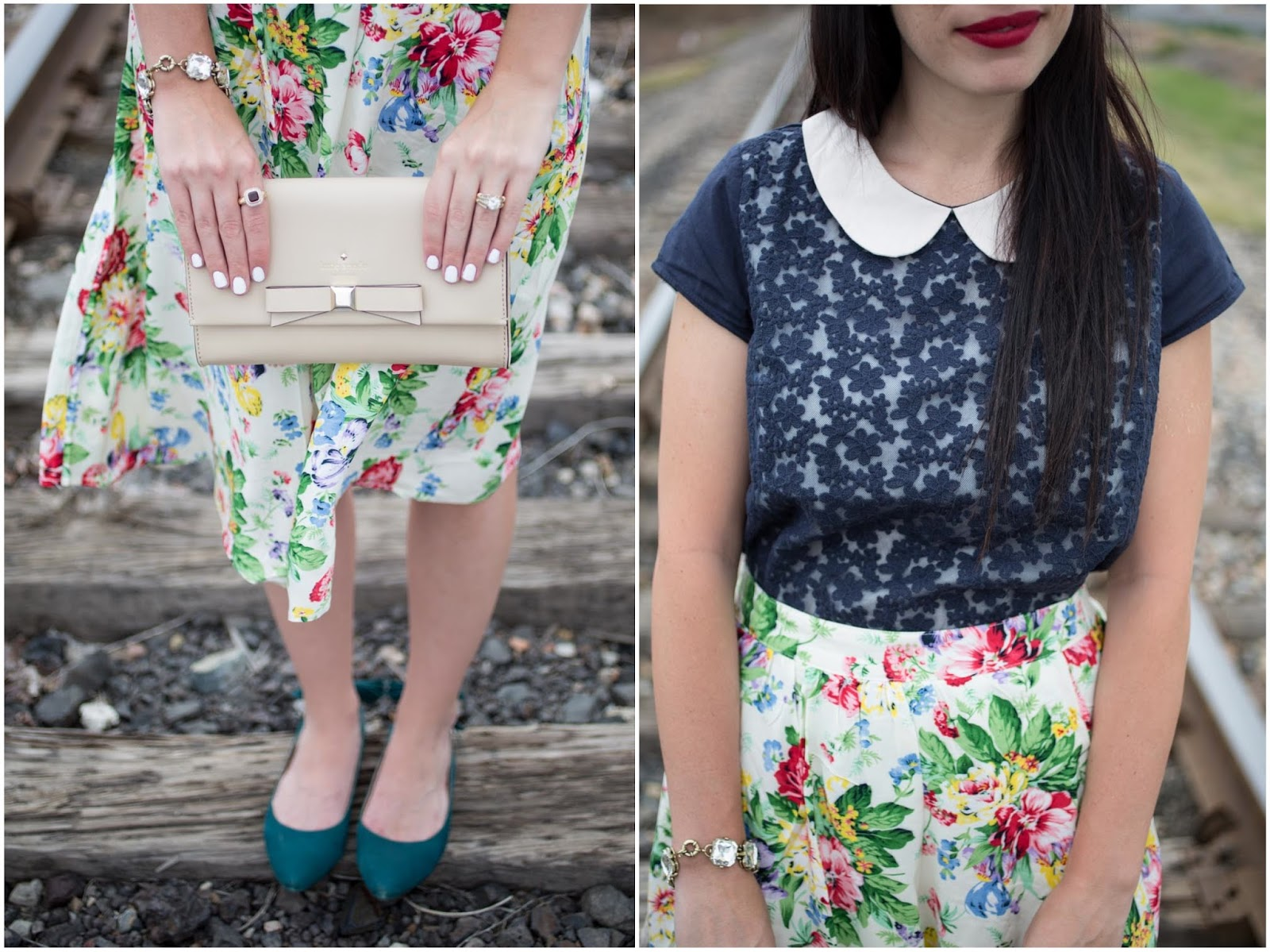 Floral Midi Skirt, and Navy Lace Blouse