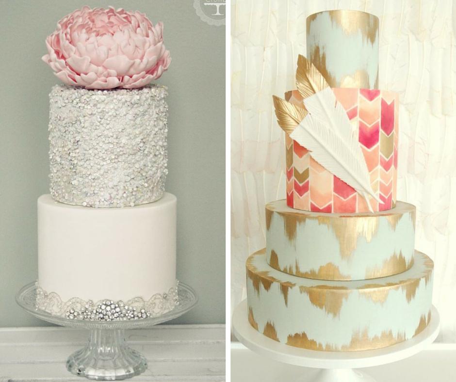 сватбени торти с цветни мотиви и пера с бялсък