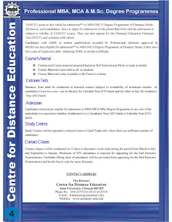Anna University Centre for Distance Education CDE Admission Notification 2015