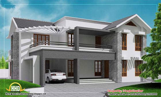 Contemporary sloping  roof home design - 3010 Sq. Ft. (280 Sq. M.) (334 square yards)