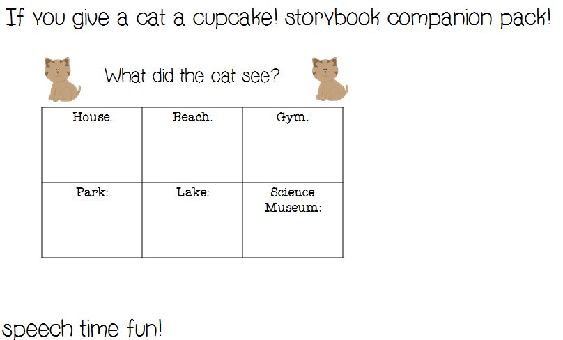 Speech Time Fun If You Give A Cat A Cupcake Storybook